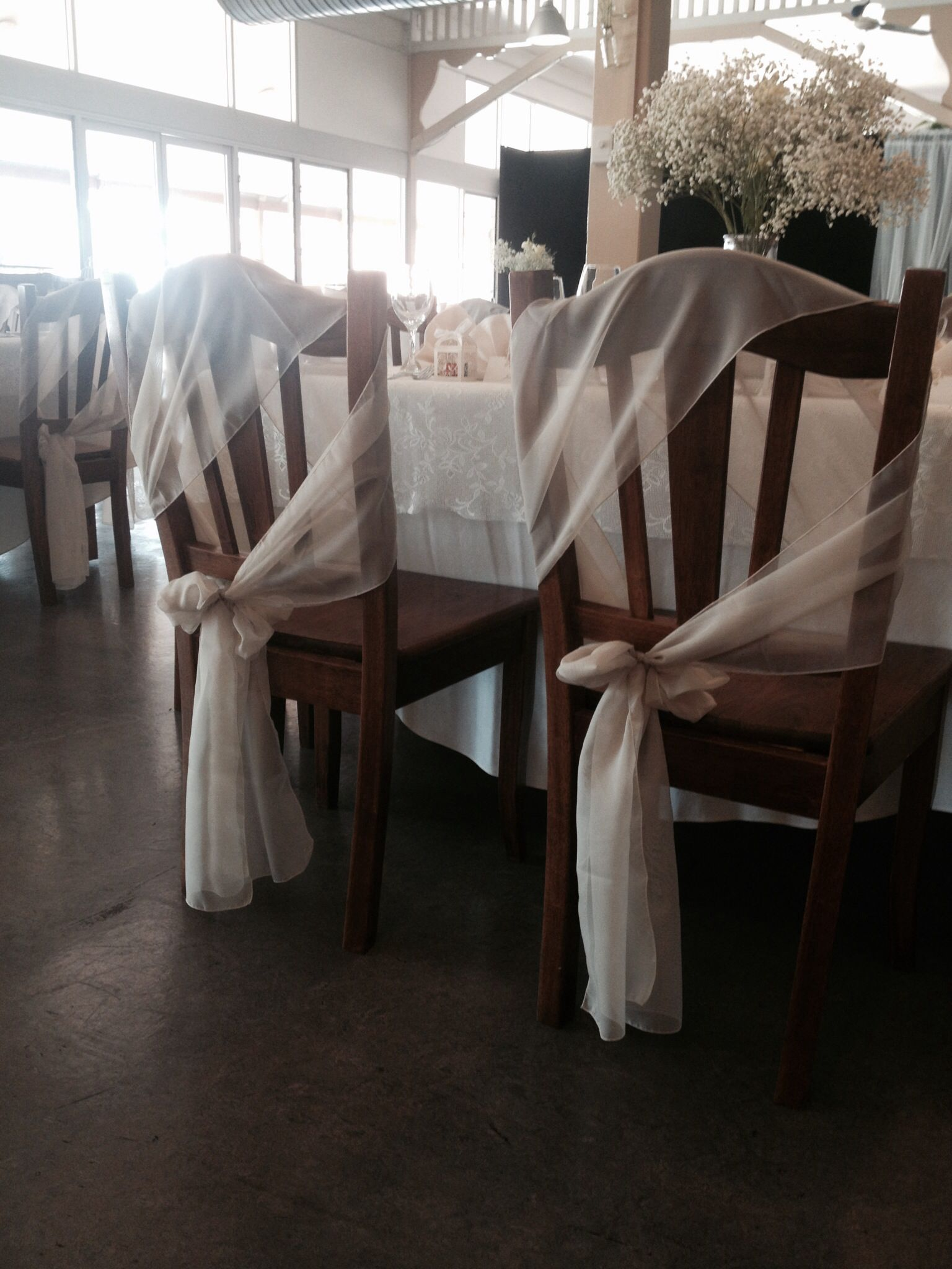 Chair sashes for wooden chairs suit a vintage rustic wedding