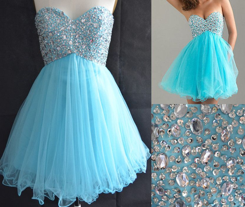 2fd661b341 Stock Sweetheart Light Blue Graduation Dresses For 8th Grade College High  School Tulle Sequins Ruffl on Luulla