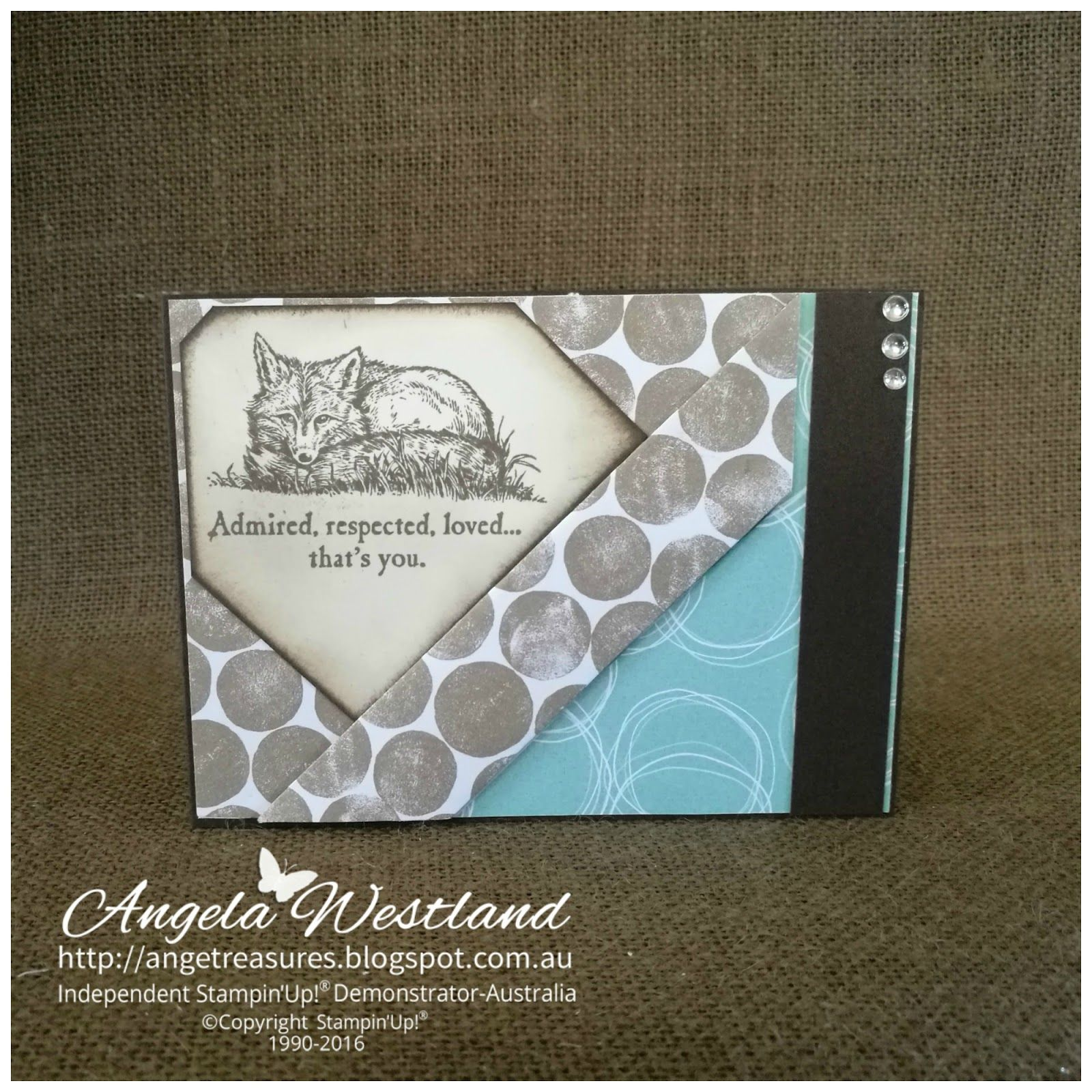 Click on the picture to see more of Angela's Projects. #stampinup #handmadecards #@Stampinupangelawestland #thewildernessawaits #layeredcard #sponging #antiquelook