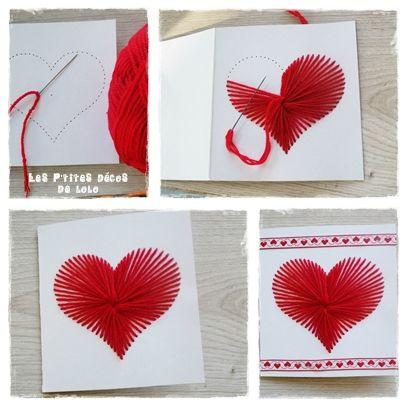 Diy pour la saint valentin une carte coeur avec de la laine les p 39 tites d cos de lolo - Carte de saint valentin ...