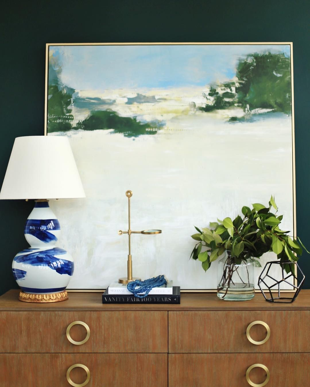@bwhome Brushstroke Lamp + Hunter Green Wall Color By