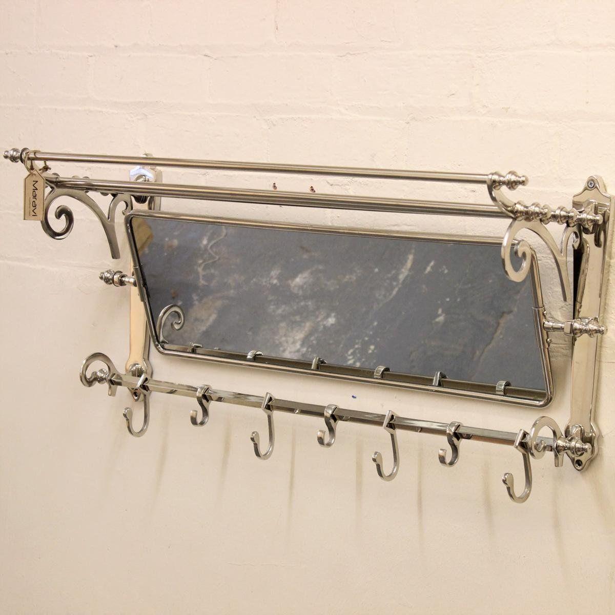 Amazonsmile Maravi Lohit Coat Train Rack With Mirror Wall Mounted Vintage With 7 Hooks Kitchen Amp Dining Coat Rack Wall Wall Hanger Mirror Wall mounted coat rack with mirror