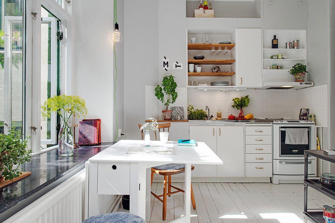 Decoracion Monoambiente Pequeno En Estilo Nordico Cocina Comedor Cocinas De Casa Monoambiente