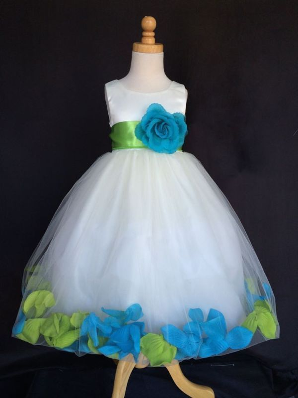 Ivory Mixed Rose Petal Dress Flower Girl Bridesmaid Birthday Pageant Easter #24