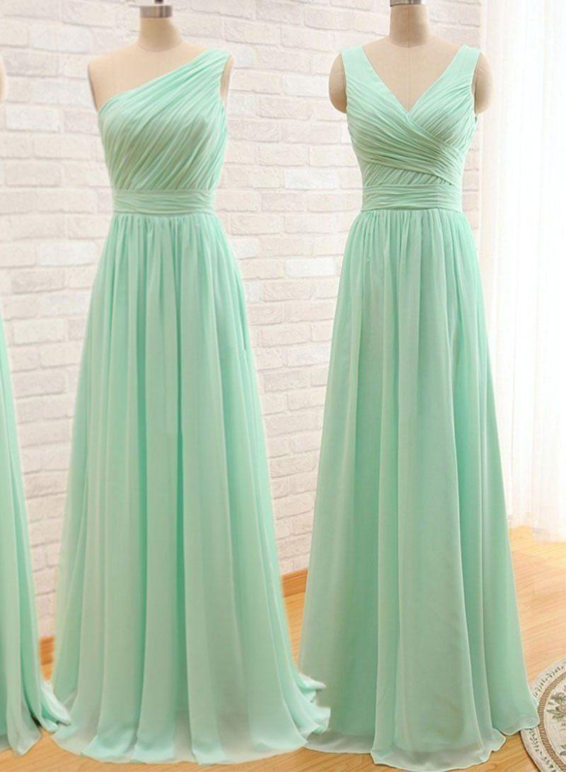 Mint Green Chiffon Long Prom Dress Bridesmaid Dress Modewish Bestfriend Prom Dresses Mint Green Bridesmaid Dresses Mint Green Prom Dress Chiffon Dress Long [ 1091 x 800 Pixel ]