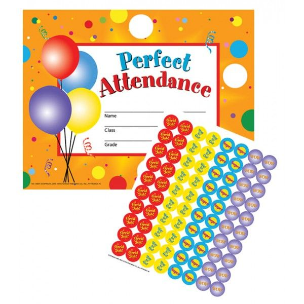 Perfect Attendance Certificates Reward Seals Classroom Supplies