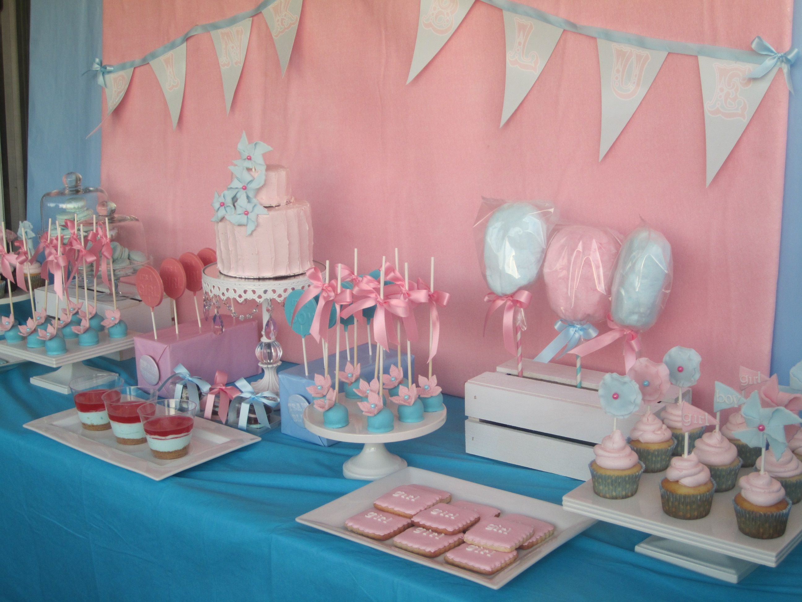 Side View Of Dessert Table Gender Reveal Candy Table Baby