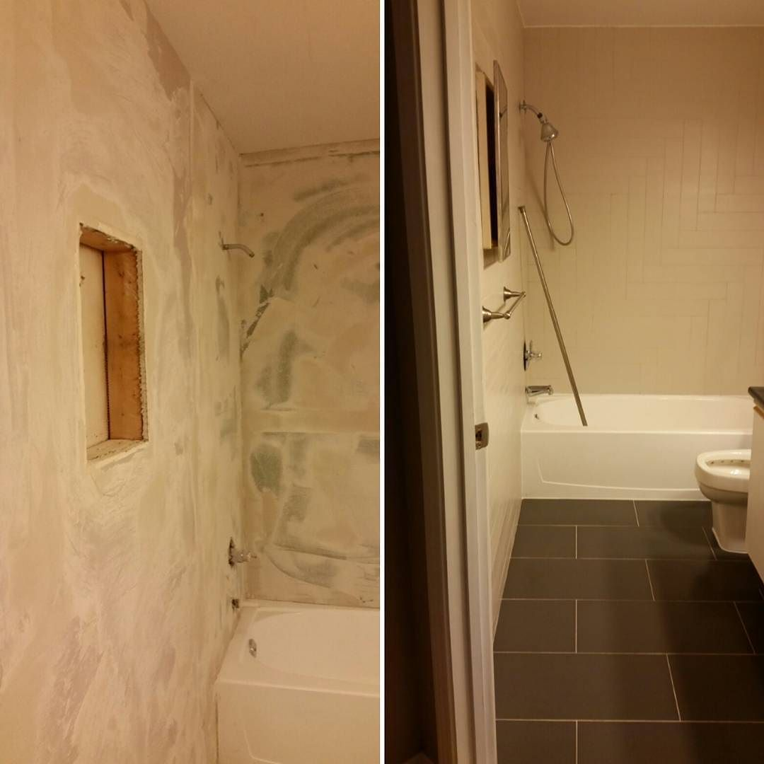 Bathroom Tile Job Harringbone Style back wall