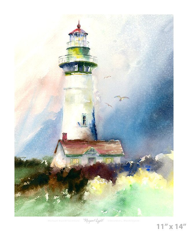 Newport Light- Yaquina Head Lighthouse Watercolor Wet on Wet ...