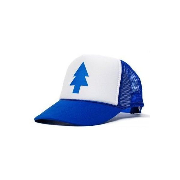 New Curved Bill 'BLUE PINE TREE' Dipper Gravity Falls Cartoon Hat Cap... ❤ liked on Polyvore featuring accessories, hats, blue cap, cartoon hat, bill caps, bills hats and comic book