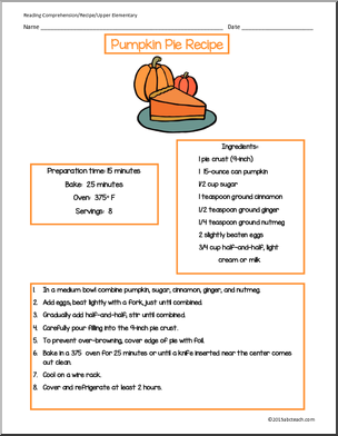 Reading Comprehension Pumpkin Pie Recipe Upper Elementary P 0 Png 304 392