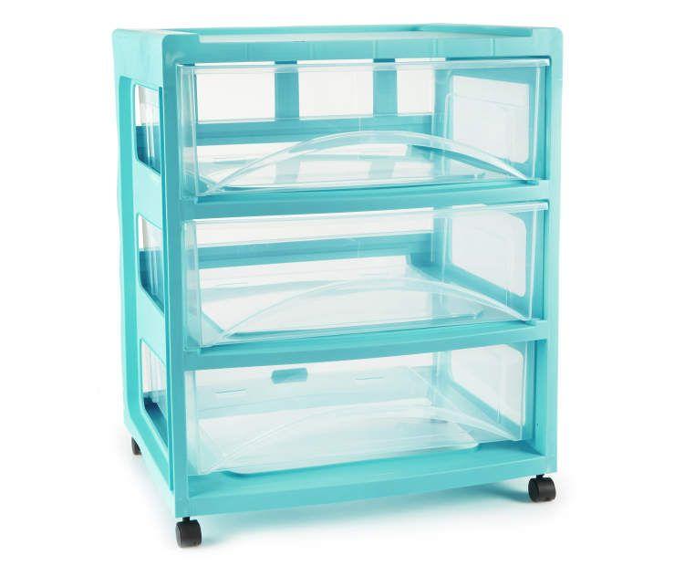 Aqua 3 Drawer Wide Cart Drawers On Wheels Big Lots Drawers