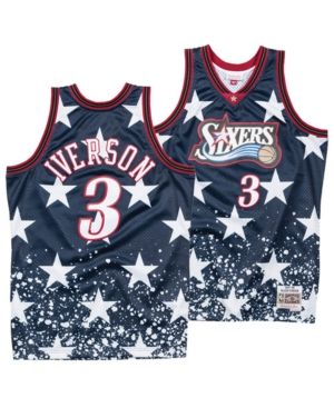 bf60f3d5a91 Mitchell   Ness Men s Allen Iverson Philadelphia 76ers The 4th Swingman  Jersey - Blue White XXL