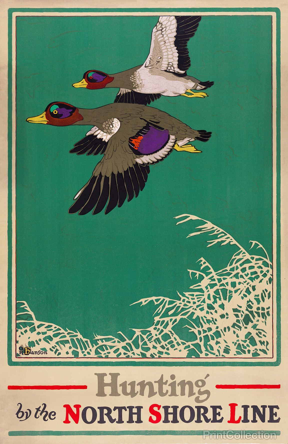 Hunting by the North Shore Line created by Oscar Rabe Hanson for the Chicago Illinois Litho Company in 1923 as a color lithograph at 106 x 71 cm.åÊ Poster shows mallards flying.åÊAdvertisementåÊfor th
