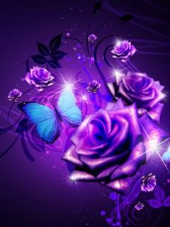 Purple Butterfly Neon Cool Purple Rose And Butterfly Cell Phone