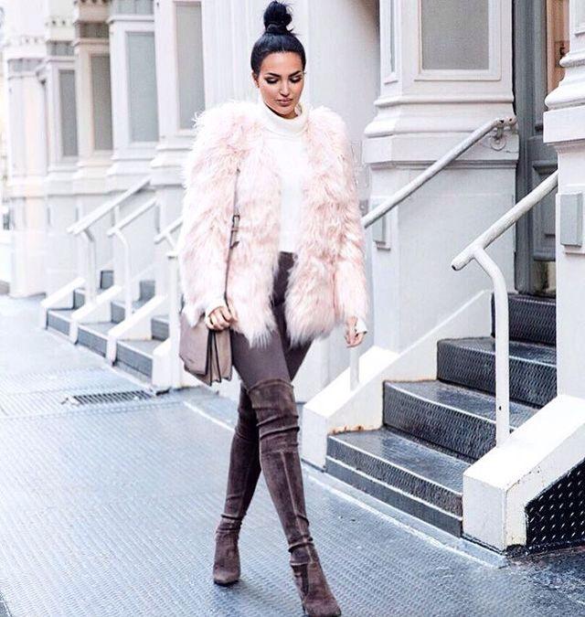 Blush pink fur jacket and thigh high