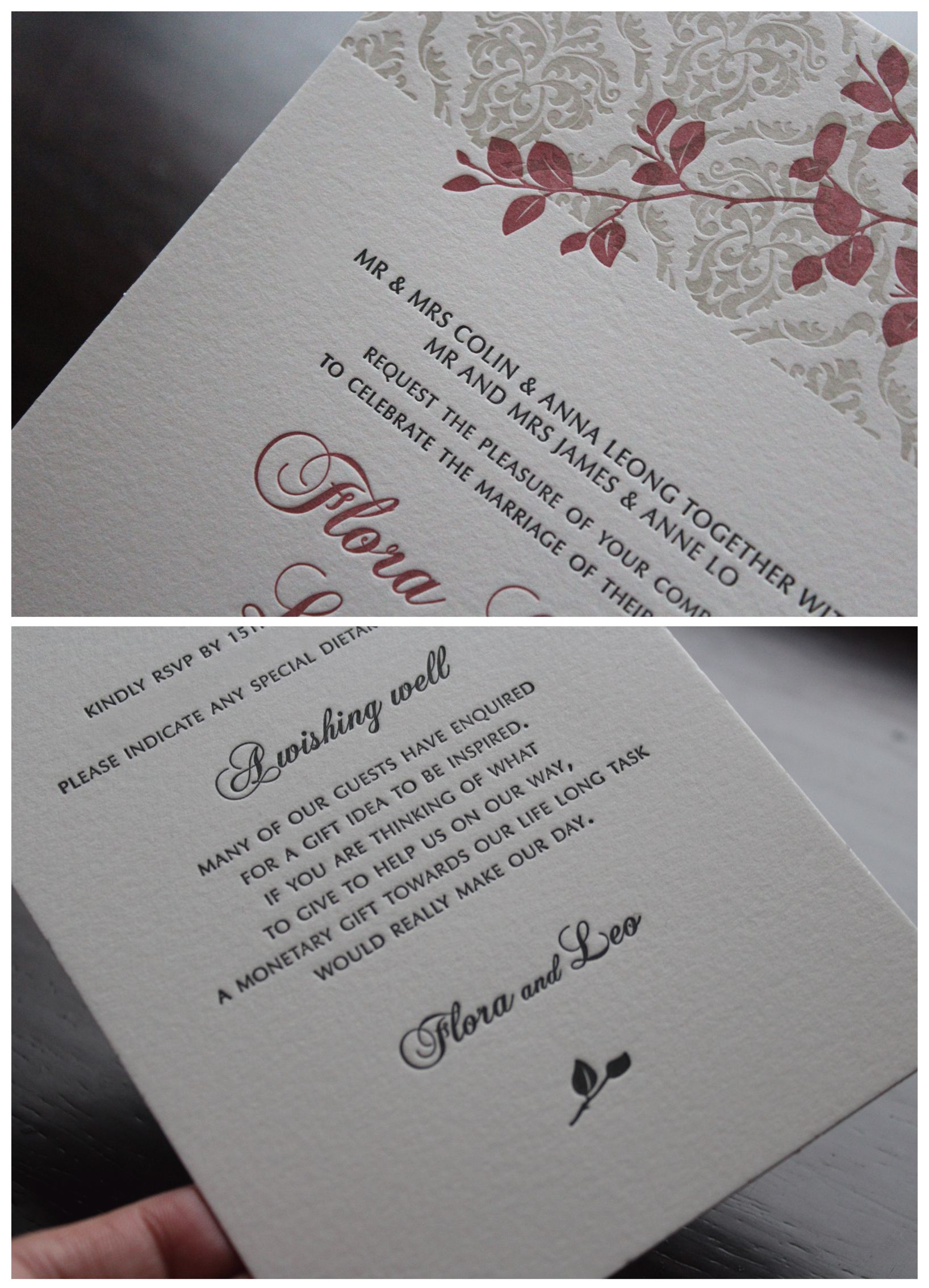 Wedding Invitations. Letterpress printed on 100% Cotton Stock. By The Hunter Press