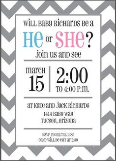 custom gray chevron gender reveal invitation printable i love the layout and simple ness of this one - Free Printable Gender Reveal Party Invitations