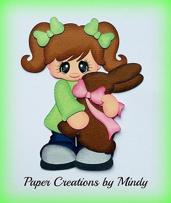 Craftecafe Mindy Easter Bunny  girl premade paper piecing for scrapbook page
