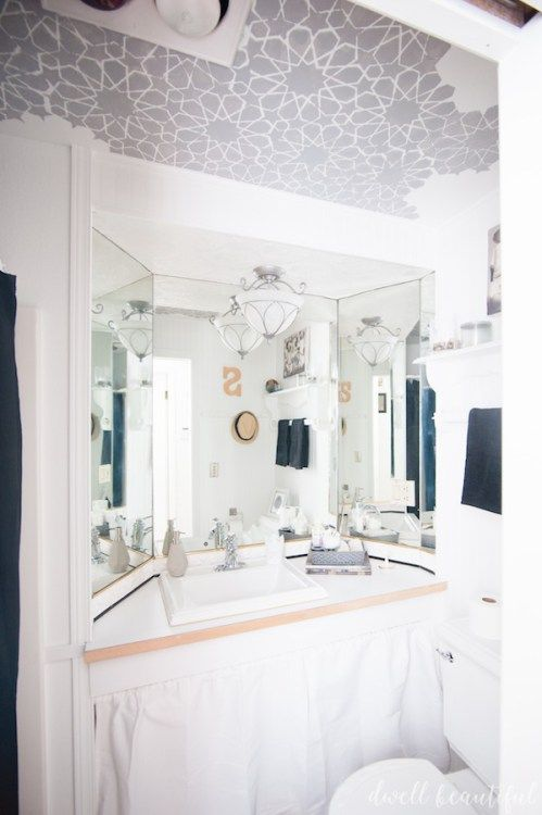 How To Stencil A Ceiling: A Mini Bathroom Makeover