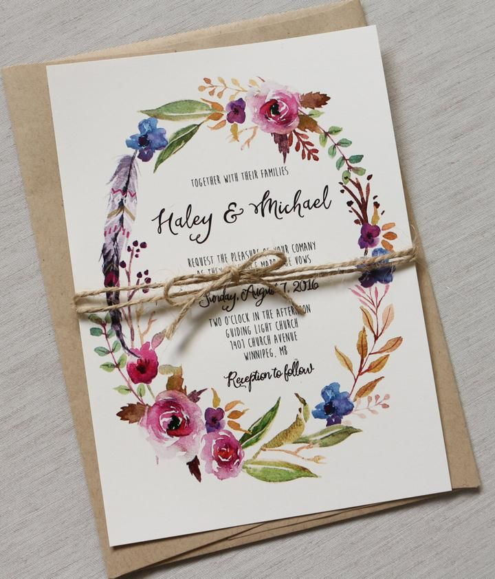Bohemian Rustic Wedding Invitation Bohemian Rustic Wedding