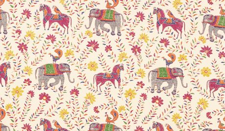 John robshaw fabric elephants horses peacocks block for Horse fabric for kids