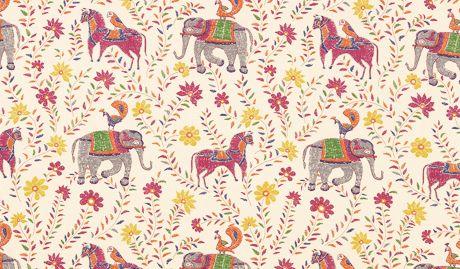 John Robshaw Fabric Elephants Horses Peacocks Block Print