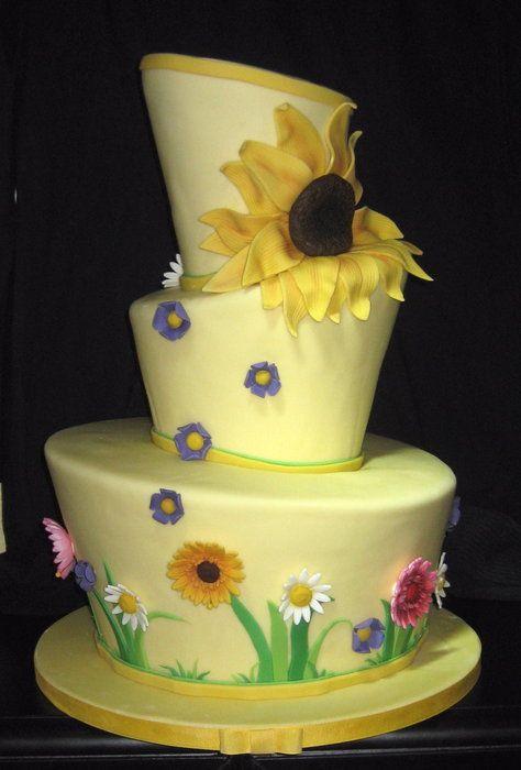 Topsy turvy sunflower wedding cake piece a cake by Susie King ...