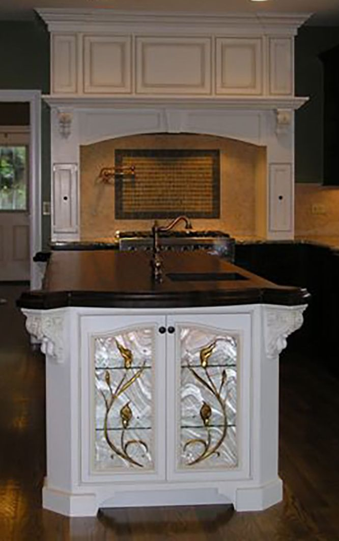 Custom Calla Lilly Carved and Backpainted cabinet