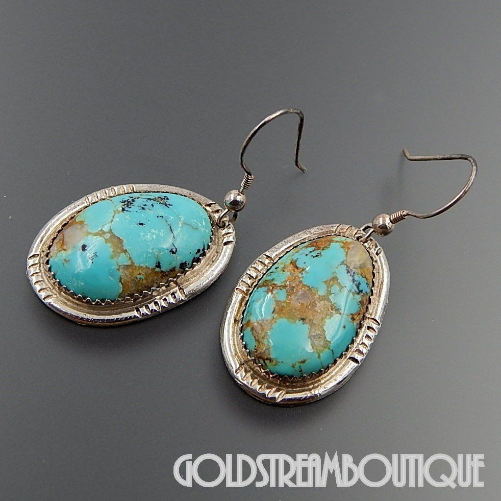 e7f62f0ab NATIVE AMERICAN NAVAJO SIGNED GD STERLING SILVER AMERICAN TURQUOISE  SOUTHWESTERN HOOK EARRINGS