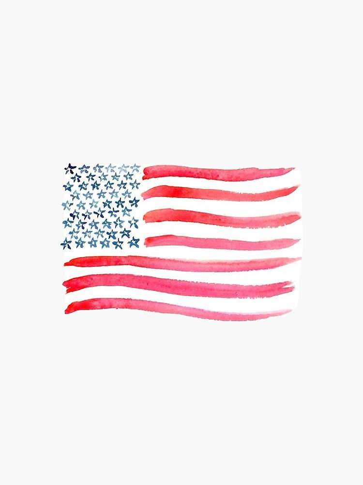 American Flag Watercolor Sticker By Missgrumpypants American Flag Art American Flag Drawing American Flag Tattoo