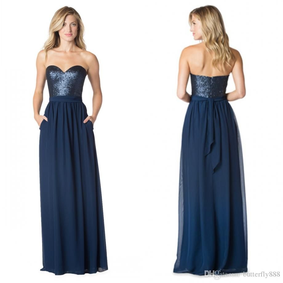 Dark Navy Blue Long Bridesmaid Dresses 2017 New Arrive Sequins ...