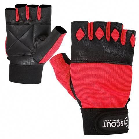 WHEELCHAIR GLOVES GYM PADDED PALM WEIGHT LIFTING FINGERLESS FITNESS BODYBUILDING