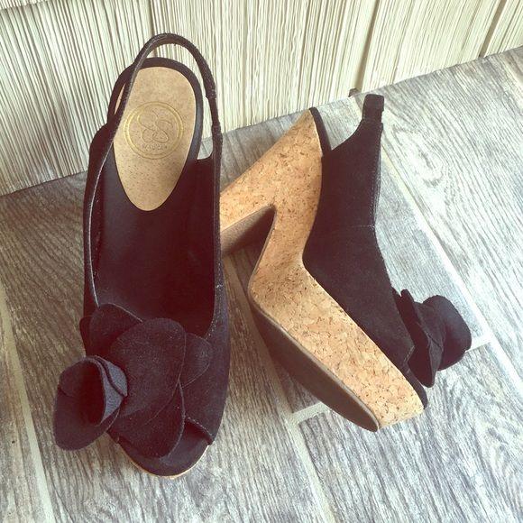 Black Suede Flower Block Heels Super cute for summer! Like new! Cork material on heel/platform. Jessica Simpson Shoes Heels