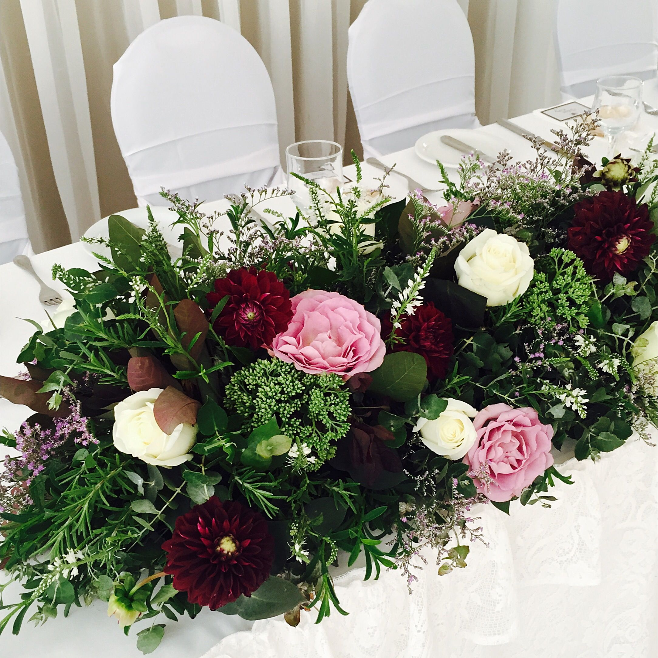 Pink and maroon wedding decor  Wedding flowers  Pinterest  Burgundy flowers Bridal table and