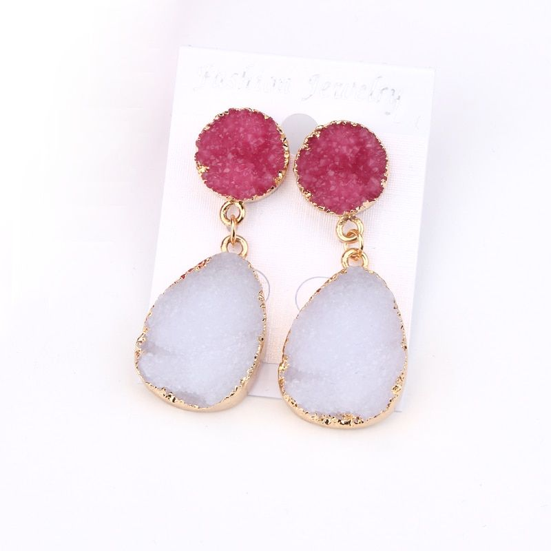 1861cd7369a1 1Pair Fashion Resin Stone Water Drop Earrings For Women Beautiful Gold Color  Dangle Earring Jewelry pendientes mujer moda