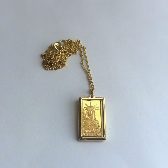 Pure Gold 1 Gram Statue Of Liberty Credit Suisse Gold Bar Pendant Necklace Ready To Ship Gold Bar Pendant Necklace Gold Bar Pendant Bar Pendant Necklace