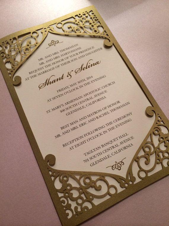 Laser Cut Wedding Invitation Pocket Frame With Swirl Pattern Custom Personalized