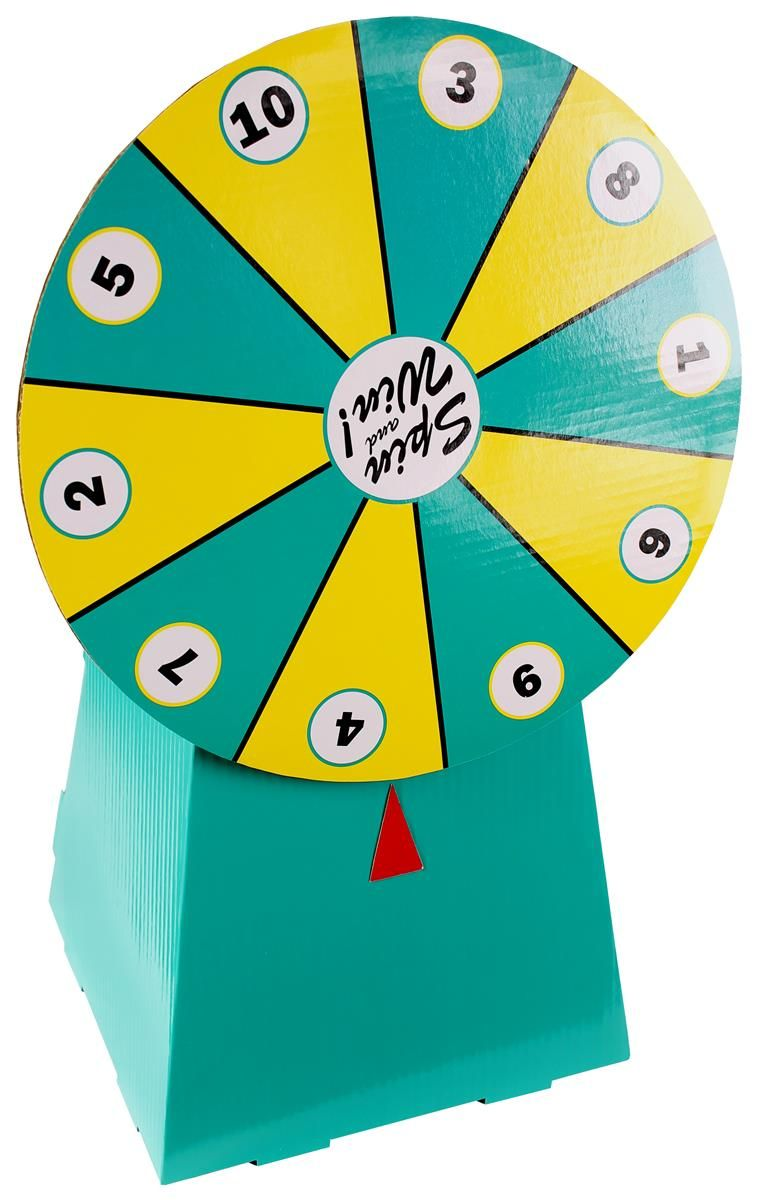 cardboard prize wheel with 10 numbered slots, countertop - teal