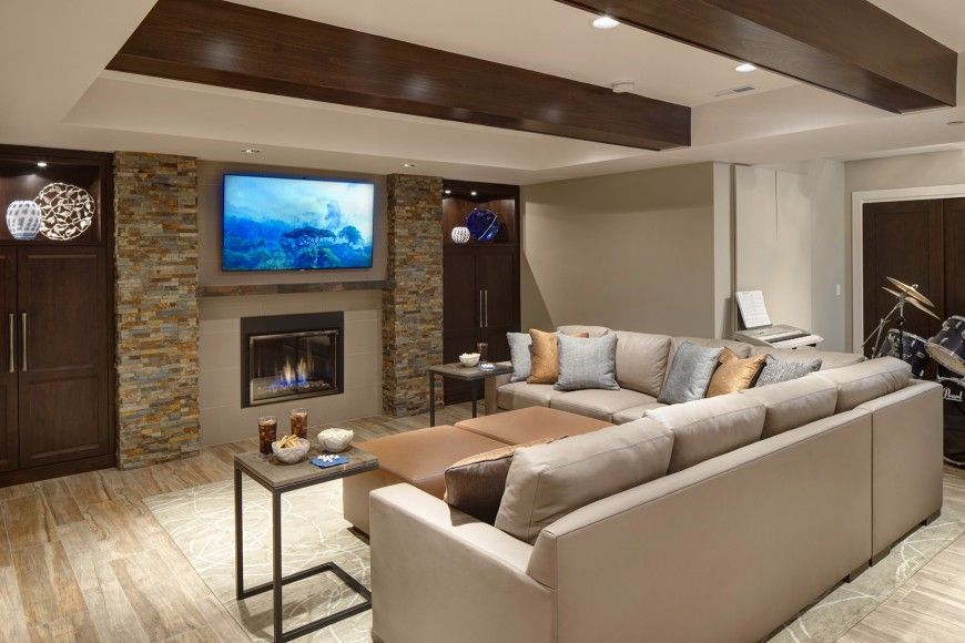 Custom Finished Basement Rec Room Created By Drury Design Family Room Tan Living Room Family Room Design