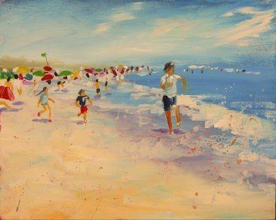 happy coast daily painting children playing at the beach original rh pinterest com