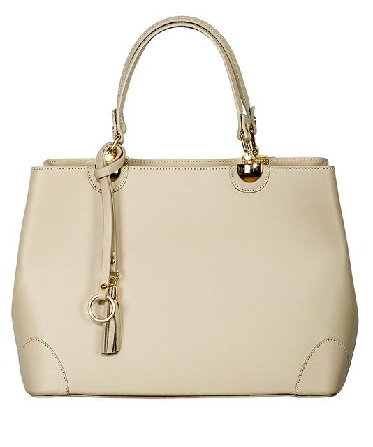 Die Elegante Farbe Taupe: Leder-Handtasche, Taupe/Gold, 100 % Echt Leder. Diese