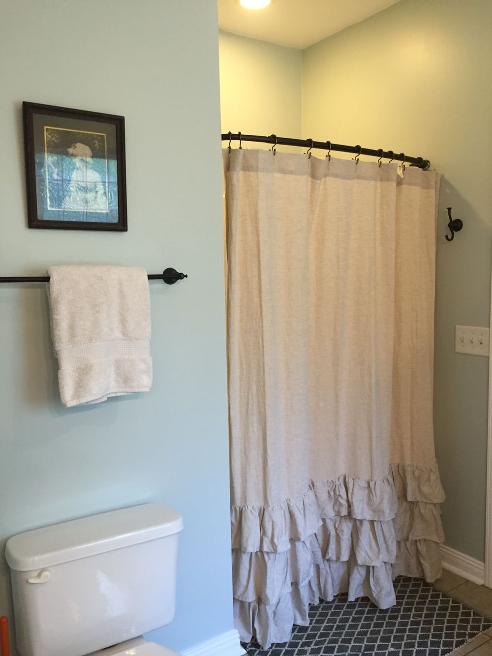 Our New Bathroom Sherwin Williams Sea Salt An Antique Framed Picture And Pottery Barn Linen Ruffle Shower Curtain