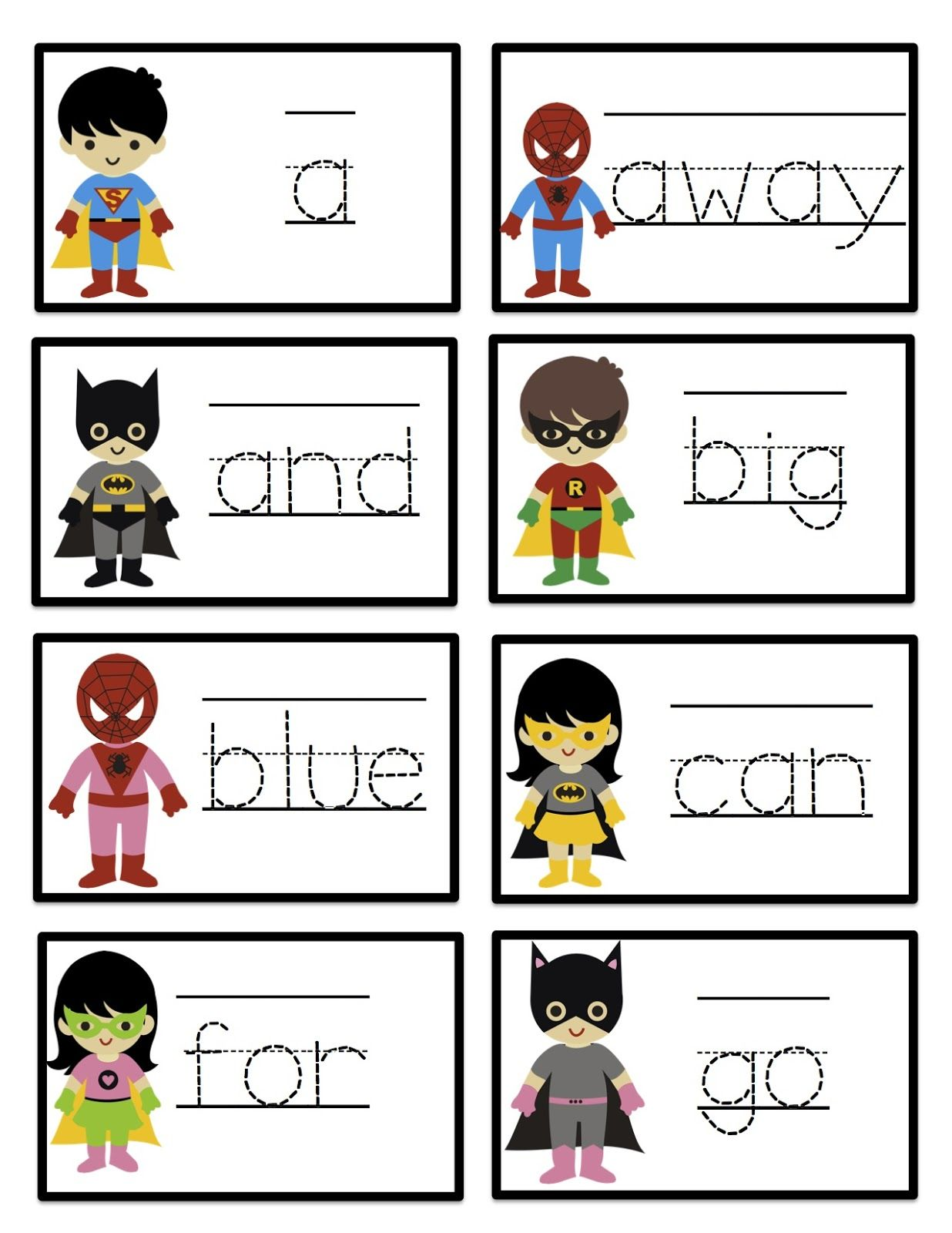 Super Heroes Pre Primer Site Word Tracing Cards