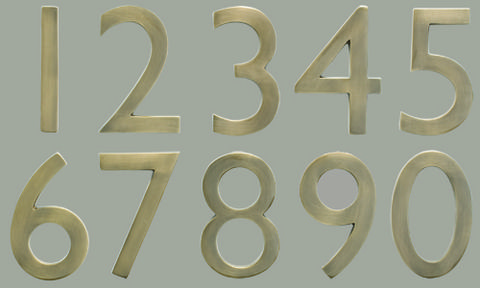 "5"" Cast Brass House Numbers"