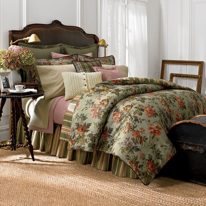 Chaps Home Brittany Duvet Cover Coordinates Green background w orange  flowers