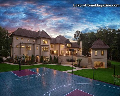 Large Backyard With Basketball Court And Beautifully Designed Patio And Pool Mansions Summit Homes House And Home Magazine