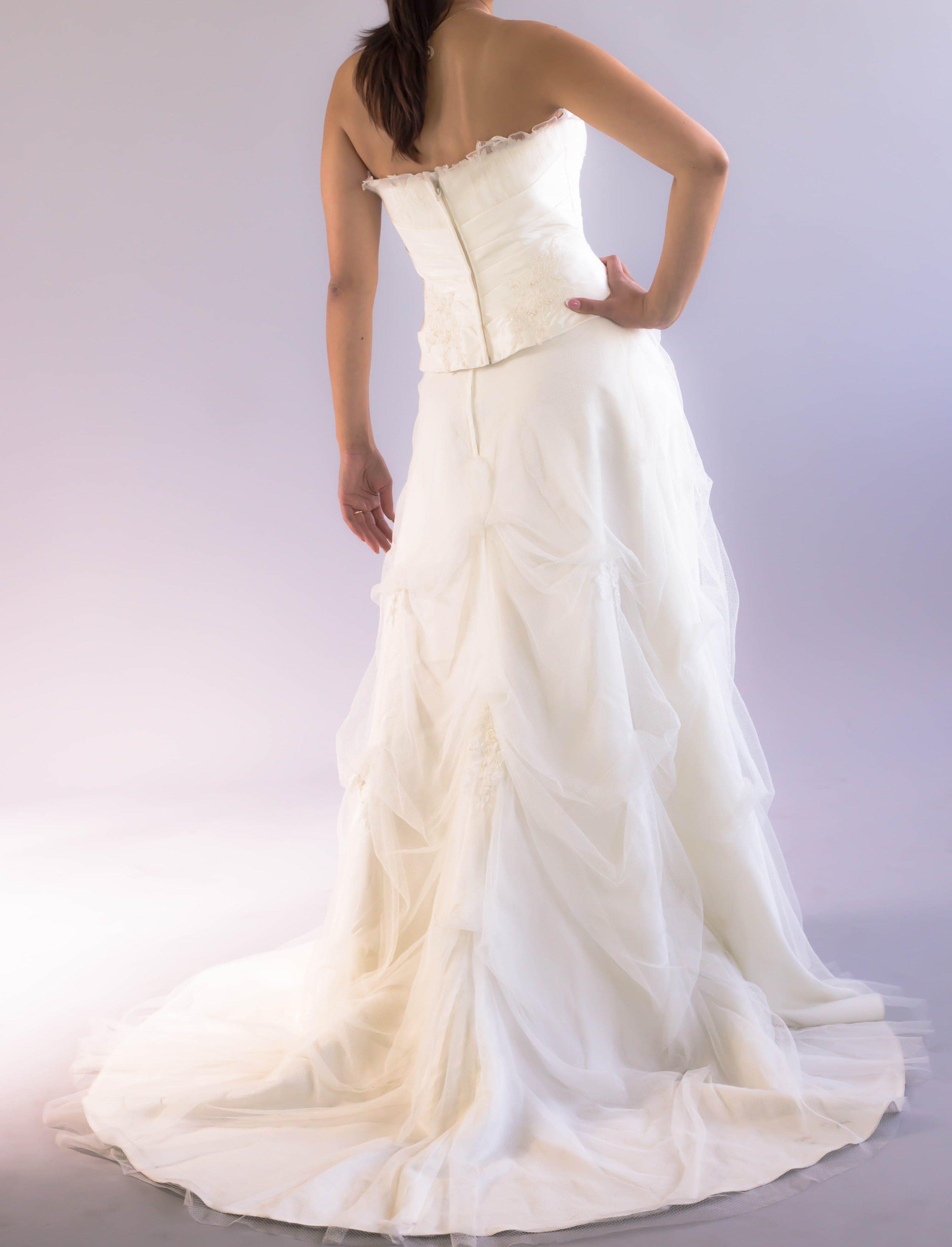 Lace french designer ivory wedding dress size fr new bridal