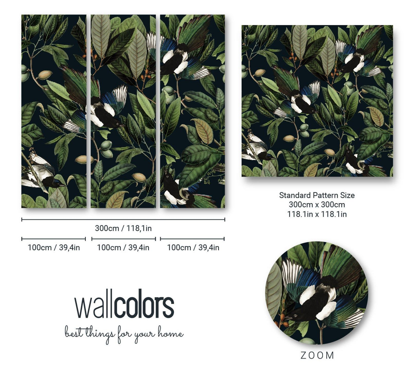 Removable Vintage Wallpaper Blue Bird And Leaves Pattern Dark Background Unique Graphics Botanical Room Decor Wall Mural 18