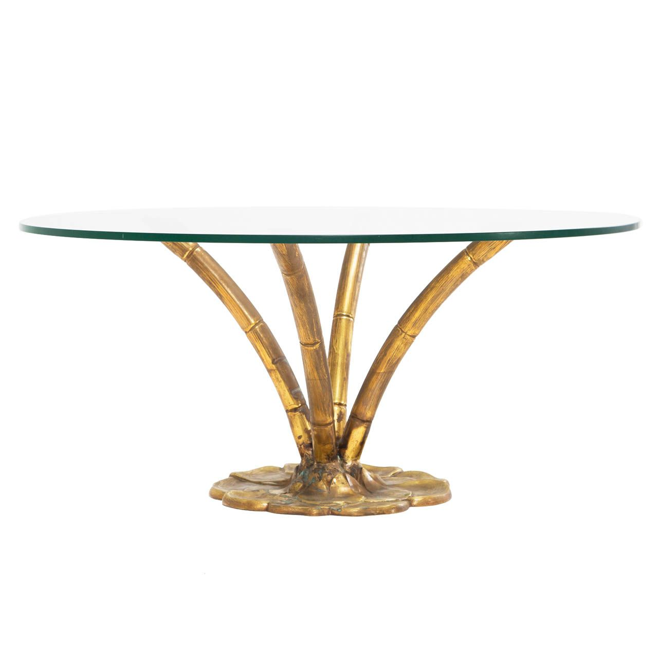 Brass Faux Bamboo Coffee Cocktail Table With Glass Top - Bamboo end table glass top